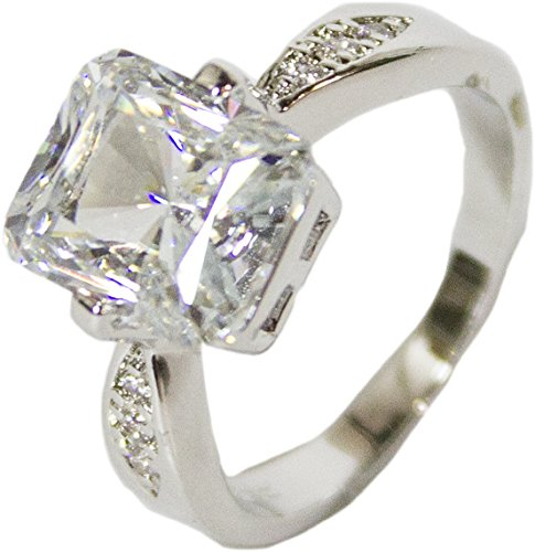 - RS Covenant Women's Rhodium Plated Dress Ring Large Emerald Cut CZ 117 (8)