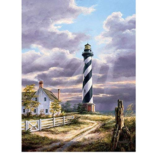 YueQiSong DIY Stripe Lighthouse Diamond Painting Cross Stitch Diamond Embroidery Home Household Decor Diamond Mosaic Square Crafts Wall Painting 30X40 cm