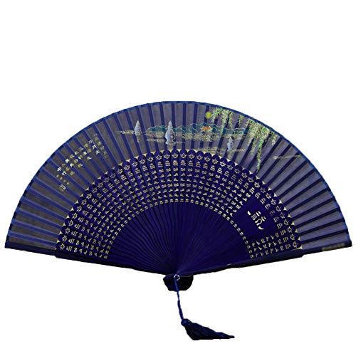 GWXLD Folding Fan Bamboo Cloth Chinese Style Japanese Silk Protection Set Wall Decoration Gift Peace C