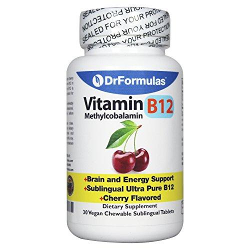 DrFormulas Vitamin B12 Sublingual Methylcobalamin 1000mcg for Brain and Energy Support Supplement, 30 Vegan Chewable Methyl B 12 Tablets