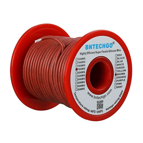 Brown Wire 100ft Spool - BNTECHGO 18 Gauge Silicone Wire Spool Brown 100 feet Ultra Flexible High Temp 200 deg C 600V 18 AWG Silicone Rubber Wire 150 Strands of Tinned Copper Wire Stranded Wire for Model Battery Low Impedance