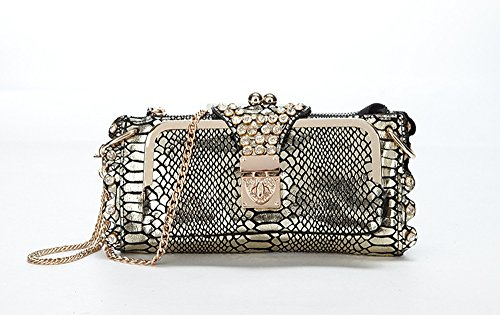 Serpentine Clutch - Fashion Women Handbag Shoulder Bags Crossbody Serpentine Clutch Leather Rhinestone Evening Bags Gold