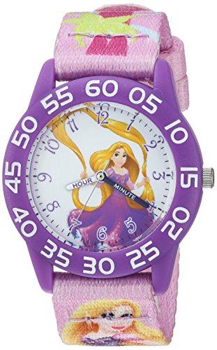 Disney Girl's 'Rapunzel' Quartz Plastic and Nylon Casual Watch, Color:Purple (Model: WDS000130)