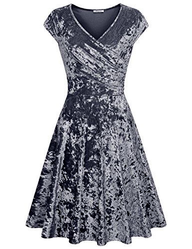 SeSe Code Graduation Dress, Women Evening Velvet Cutest Design Skaters Occasion Modest Glitter Flowy Pretty Smock Business Fitting Dresses Dusty Blue XXL (Dress Code Clothing)