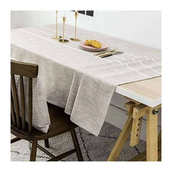 """Home Brilliant Faux Burlap Tablecloth Rectangular Oblong Table Cover for Kitchen Dinning Striped Tabletop Decoration (52 x 72 Inch, Light Linen) - READY MADE: Package contains 1 piece of table cloth: measures width 52"""" x length 72"""" (132cm x 182cm). Due to hand tailor and sewing, 0.5""""-1"""" deviation is allowed. MATERIAL: Home Brilliant table cloths are made of 100% premium polyester but Look just like luxurious linen fabric. This fabric is designed to withstand repeated use and frequent laundering.Please iron after laundering. VERSATILE: Home Brilliant Table Cloth can be used on many places and many occasions: can be used such as kitchen tablecloth, dinning table cloth for daily use, buffet table cover for parties and weddings, outdoor table covers for friends gathering. - tablecloths, kitchen-dining-room-table-linens, kitchen-dining-room - 51SFKWUNFTL. SS570  -"""