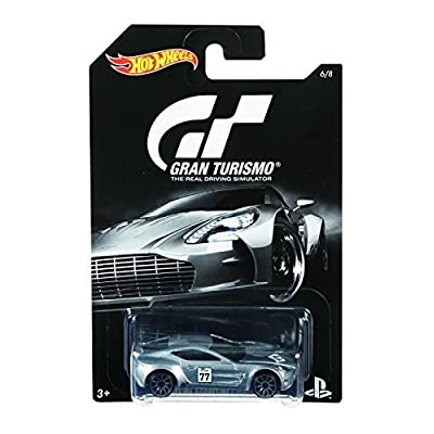 Hot Wheels 2016 Gran Turismo Aston Martin One-77 6/8, Silver: Toys & Games