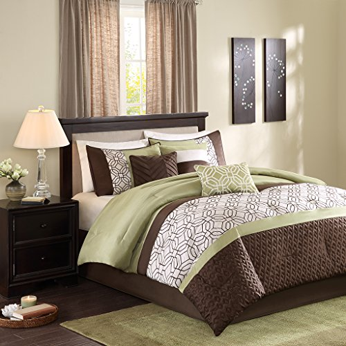 7 Piece Faux Silk (Madison Park Briggs Cal King Size Bed Comforter Set Bed In A Bag - Green, Brown, Embroidered Geometric – 7 Pieces Bedding Sets – Faux Silk Bedroom Comforters)