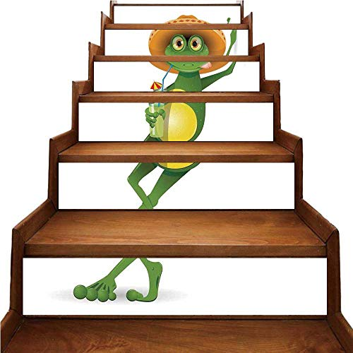 - TecBillion Cartoon Nice Stairs Sticker,Frog in a Sombrero and a Cocktail Drink Glass Fauna Hot Weather Holiday for Home,39.3