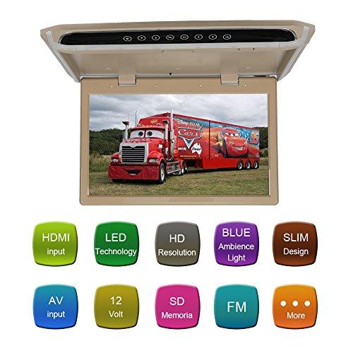 CarThree Car Flip Down Monitor 1080P HD TFT LCD 12.1Inch Flip Down Car DVD Player Ultra Thin Flip Down DVD Player for Car HDMI SD MP3 MP4 LED