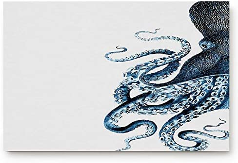 Anmevor Indoor Doormat Entrance Floor Rug Welcome Kitchen Bathroom Mats Non Slip,Sea Creatures Sea Life Nautical Blue Vintage Octopus 20 x 32 inch Large