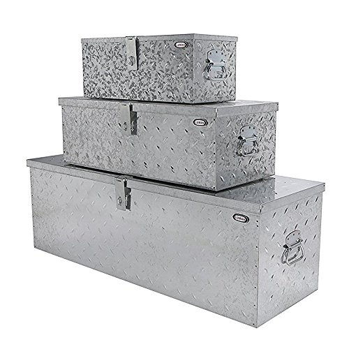 LUMAN 3 in Pack, 45.4'', 31'' & 22'' Truck Tool Boxes Tote Storage for Truck Pickup Bed ATV Trailer, Heavy Duty Steel Trailer Tool Storage Box Organizers Box Set - Silver (Diamond Plate Tool Boxes)