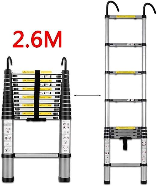 Escaleras plegables aluminio Escalera Telescópica De 2.6 M, Aleación De Aluminio Con Gancho Escalera Telescópica Multifuncional For Uso En El Hogar Tipo Loft, 9 Tamaños taburete escalera plegable: Amazon.es: Hogar