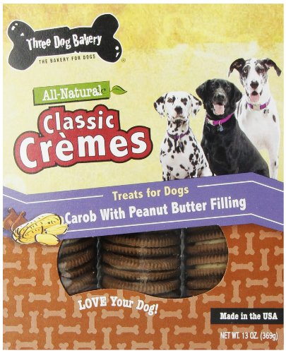 Three Dog Bakery Classic Cremes Baked Dog Treats, Carob with Peanut Butter Filling, 13 oz (Treat Cookies)