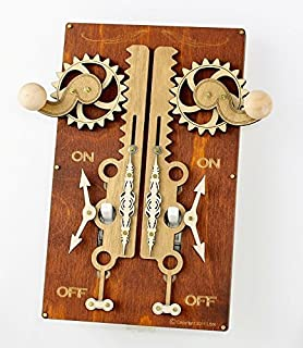 product image for Green Tree Jewelry Double Rack & Pinion Brown Wood Light Switch Plate