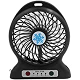 DealMux 3 Shift Multi-functional Portable Rechargeable USB Fan Black for Car Outdoor
