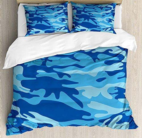 Pale Man Costumes (Camouflage Duvet Cover Set Queen Size by Ambesonne, Abstract Camo Navy Military Costume Concealment from the Enemy Hiding, Decorative 3 Piece Bedding Set with 2 Pillow Shams, Pale Blue Navy Blue)