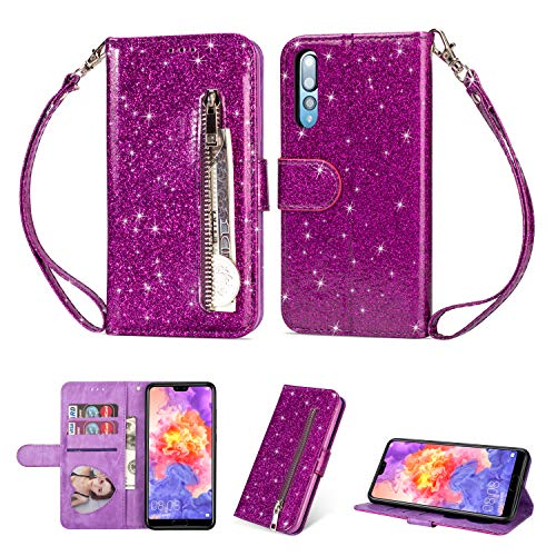Price comparison product image Earcase Huawei P20 (2018) Case Wallet, Bling Glitter Zipper Case PU Leather Case Folio Flip Cover Kickstand Magnetic Closure Stand Shiny Cover with Card Holder Cash Pocket and Strap-Purple