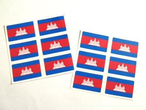 (Minilabel Mini Sticker Pack, 33X20mm Rectangle, Self-Stick Cambodia Labels, Cambodian Flag Stickers)