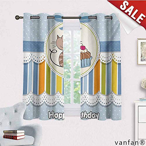 Easy Care Privacy Protection Grommet Window Panels,Kids Birthday,Present Wrap Like Image with Chocolate Cake Figure and Kitten Party,2 Pieces,Baby Blue and White,W55 Xl45]()
