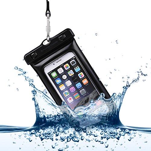 Power Theory Wasserdichte Handy Hülle - Staubschutz Smartphone Cover Universalhülle Beachbag Beutel Tasche Handyhülle für iPhone 6s 6 Plus 5s 5 und Samsung Galaxy S5 S6 S7 Edge und alle Smartphones bis 6 Zoll (Schwarz)