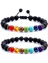 Men Women 8mm Lava Rock 7 Chakras Aromatherapy Essential...