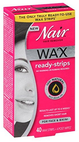 Nair Hair Remover Wax Ready-Strips 40 Count Face/Bikini (3 Pack) (Remover Strip Ready)