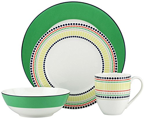 (Kate Spade New York Hopscotch Drive Green Dinnerware 4-Piece Place Setting)