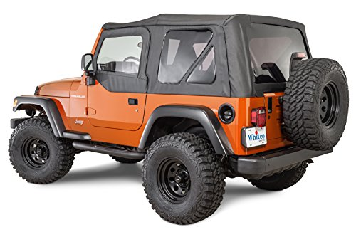 Tinted Rear Windows (Whitco Replacement Soft top with Tinted Rear Windows for 1997-2006 Jeep Wrangler TJ with Upper Doors in Black Diamond 35111235)