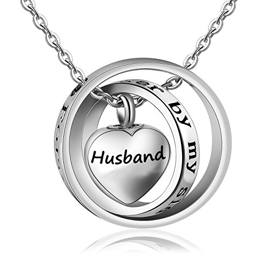 (Meice Locket Ashes urn necklace for mom&dad&Grandpa&grandma&uncle&aunt no longer by my side forever in my heart memorial keepsake jewelry (husband))