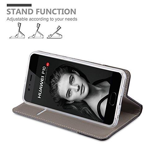 Cadorabo - Funda Estilo Book para >                                      Huawei P10 PLUS                                      < de Diseño Tela / Cuero Arificial con Tarjetero, Función de Soporte y Cierre Magnético Invisible