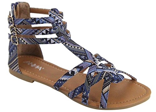 ANNA Mavis-7 Women Buckle Zip Ankle Cuff Flat Gladiator Sandal Run Half Size Big (8.5 B(M) US, Blue Fabric) (Ankle Cuff Sandal)