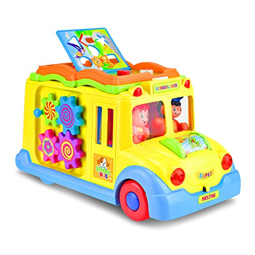 (KATUMO Intellectual Musical School Bus Toy, Learning Educational Toys for Baby & Toddles, Electronic Toy Car Multiple Games with Lights and Sounds for 1 2 3 Year Old Boys and Girls)