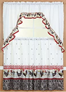 GorgeousHomeLinenDifferent Cottage Designs 3 Piece Kitchen Window Ruffle  Rod 2 Tier Curtains 1 Swag Valance Set