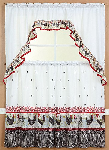 GorgeousHomeLinenDifferent Cottage Designs 3 Piece Kitchen Window Ruffle Rod 2 Tier Curtains 1 Swag Valance Set (BLACK ROOSTER-2) (Black And White Rooster Decor)