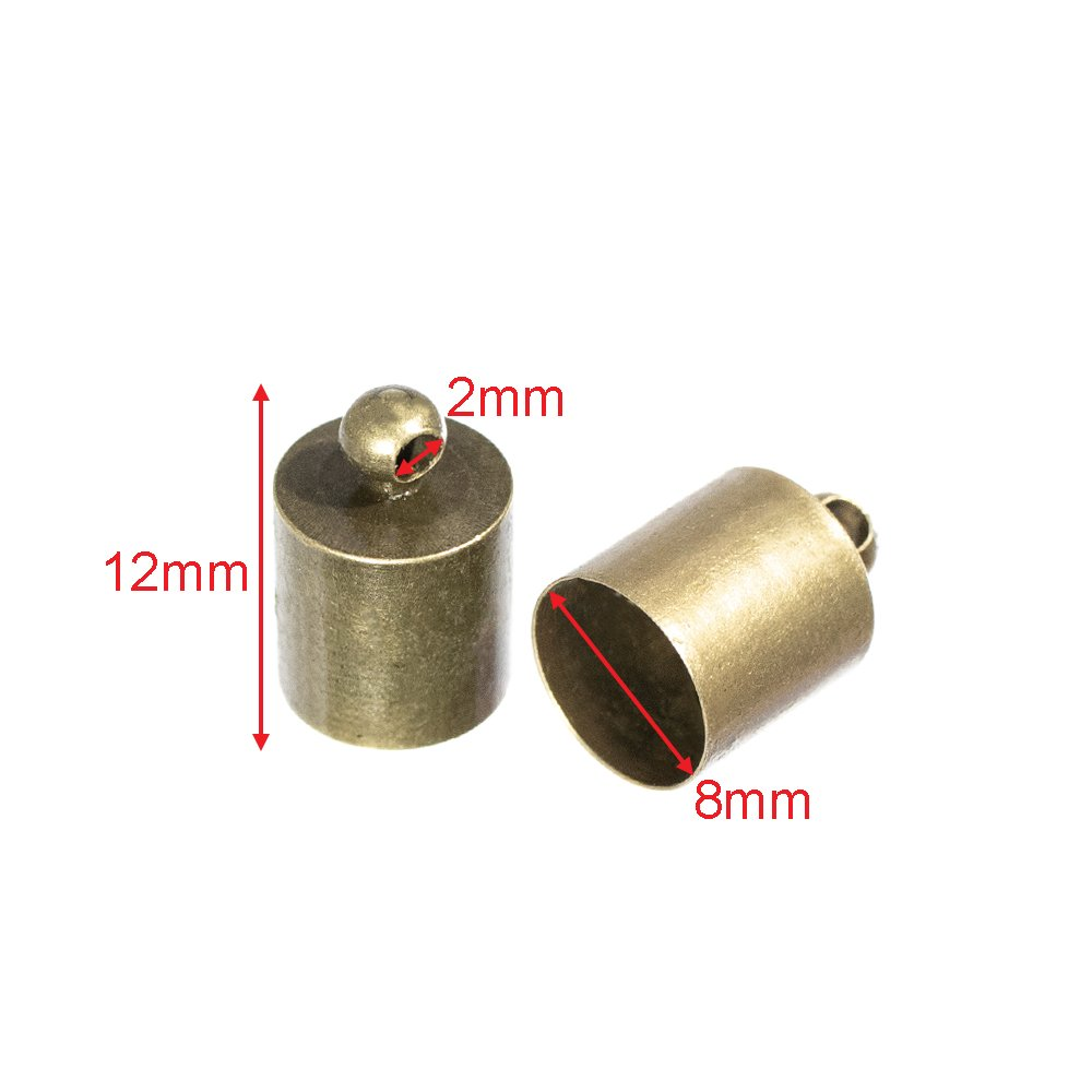 10 12mm or 13mm 5mm 10mm 2 5 7mm 25 9mm 3mm Bronze or Silver 50 or 100 Packs 6mm Craft County Cord End Caps 8mm