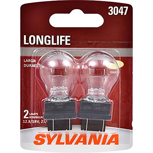 SYLVANIA - 3047 Long Life Miniature - Bulb, Ideal for Daytime Running Lights (DRL) and Back-Up/Reverse Lights (Contains 2 Bulbs)