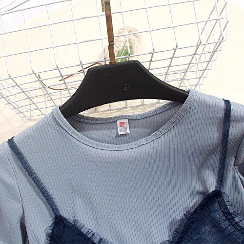 Shirt lingue Moyenne fminin T Ronde MiGMV Deux Dentelle Cou Robe black Manches de mare Longueur Tennis Courtes Robe en q0nC6wp