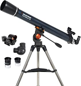 Celestron - AstroMaster 90AZ Refractor Telescope - Refractor Telescope for Beginners - Fully-Coated Glass Optics - Adjustable-Height Tripod - BONUS Astronomy Software Package