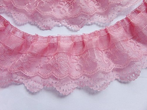 YYCRAFT Pack Of 15y 3-layer Pleated Organza Lace Edge Trim Gathered Mesh Chiffon Ribbon-Pink