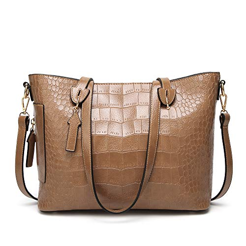 - Cawmixy Satchel Women Shoulder Bags Classic Tote Ladies Designer Hobo Crocodile pattern Purses Woman Top Handle Bag (B Khaki)