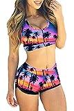 QUEENIE VISCONTI Women Swimsuits Tankini with Boy Shorts Colorful Print Sporty Two Pieces Swimwear Multi 2XL