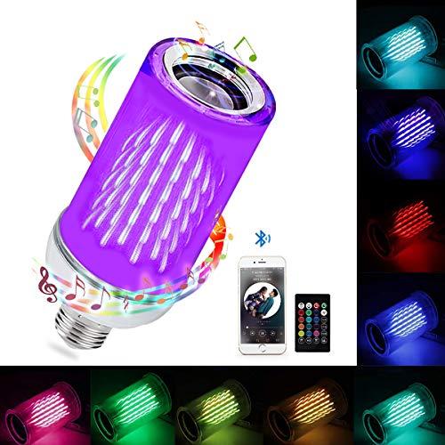 Bluetooth Music Light Bulb, HEDYNSHINE E27(E26) 24key Remote Control RGB Bulb, Colorful with Music Rhythm Fire Bulb Lights, LED Wireless Light Bulb Speaker