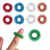 Spiky Sensory Finger Acupressure Ring Set (Pack Of 10) By Special Supplies: Cool Hand Fidget Toy For Kids Teens & Adults-Silent Stress Reducer & Massager-Helps With Focus ADHD & Autism