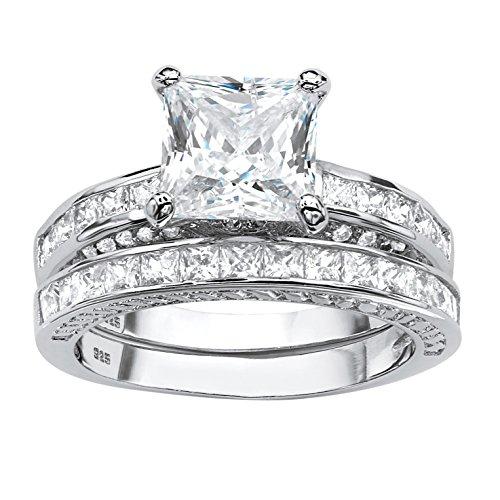 Princess-Cut White Cubic Zirconia Platinum over .925 Sterling Silver 2-Piece Bridal Set Size 6