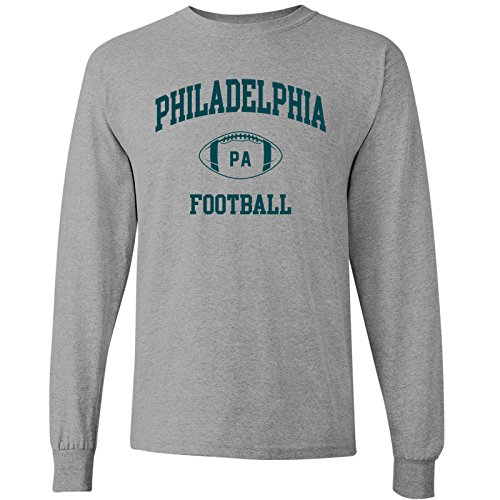 UGP Campus Apparel Philadelphia Classic Football Arch American Football Team Long Sleeve T Shirt - X-Large - Sport Grey