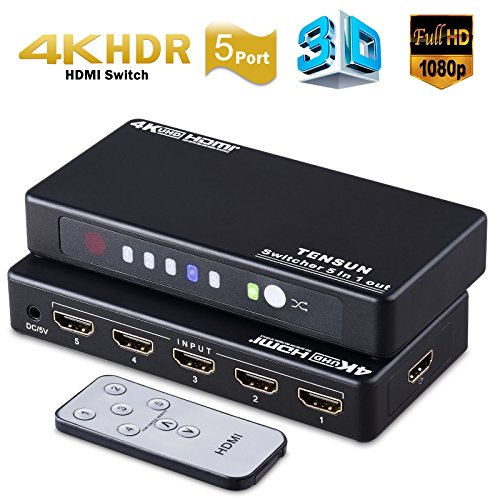 1 X Sensor (5x1 HDMI Switch, Tensun 5 Port HDMI Switcher 4K HDMI V1.4 with IR Remote Control & Power Adapter Supports 3D 1080P CEC)