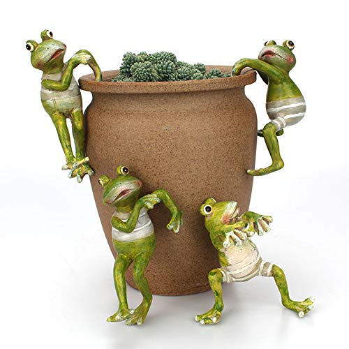 Planter Pot Hanger Decorations, Frog Flower Pot Resin Creative 3D Craft Frog Figurines Climbing Decoration Animal Ornaments for Office Desk Home Garden Pot Decor,4 pcs