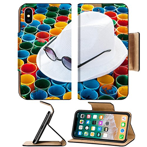 Liili Premium Apple iPhone X Flip Pu Leather Wallet Case IMAGE ID 32713261 close up white hat and subglasses on colorful painting on glass arranging for abstract - Subglasses