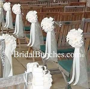 White tulle white satin wedding pew bows for Amazon wedding decorations