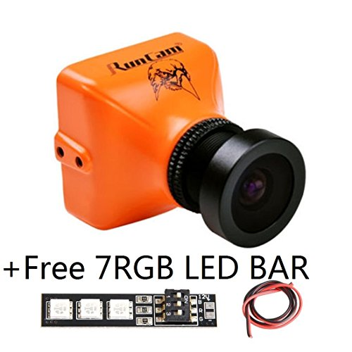 Runcam Eagle 800Tvl Fpv Camera 4 3 Mini For Racing Drone Dc 5 17V Fov 140 Degree Black   Global Wdr Aluminium Case For Drone Quad Copter With 1 Pcs Rgb Led Bar Orange